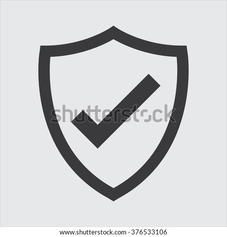 Shield with checkmark symbol for download. Vector icon - stock vector