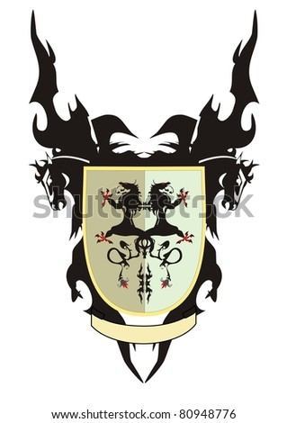 Shield with dragons - stock vector