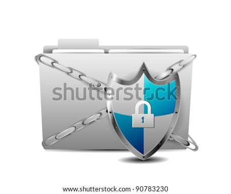 Shield with Folder Protection over white background - stock vector