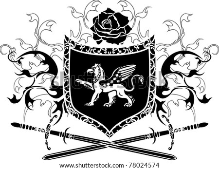 Shield with griffin and crossing swords - stock vector
