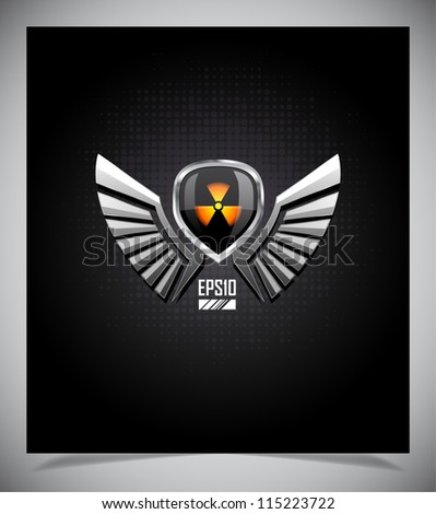 Shield with radiation sign and wings. Vector illustration. - stock vector