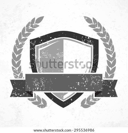 Shield with ribbon and laurel in grange, flat vector illustration - stock vector