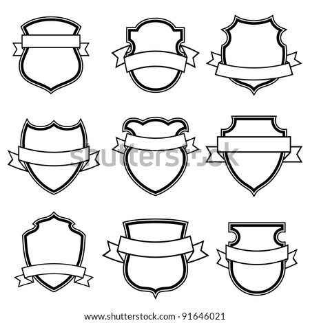 shield with ribbon collection set isolated - stock vector
