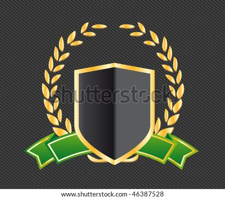 shield with ribbons and laurels - stock vector