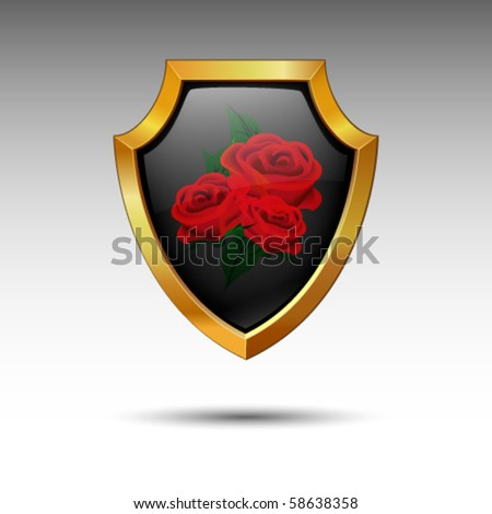 Shield with roses.. - stock vector