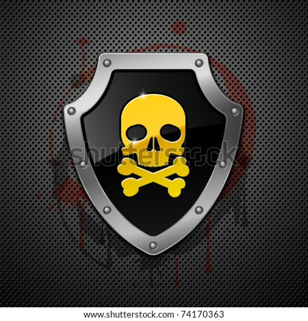 Shield with skull on a metallic background. - stock vector