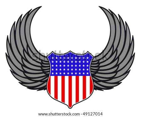 Shield with wings as a USA heraldic symbol for design. Jpeg version is also available  - stock vector
