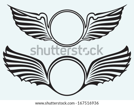 Shield with wings isolated on blue batskground - stock vector