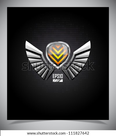Shield with wings on a dark background. - stock vector