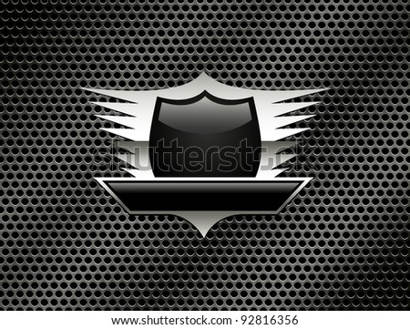 Shield with wings on the metal grill background. Vector Eps8 - stock vector