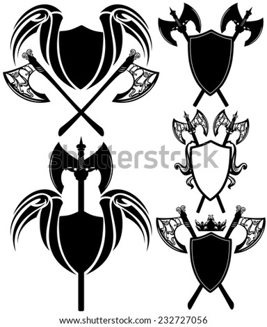 shields and axes detailed design elements - black and white vector emblems collection - stock vector