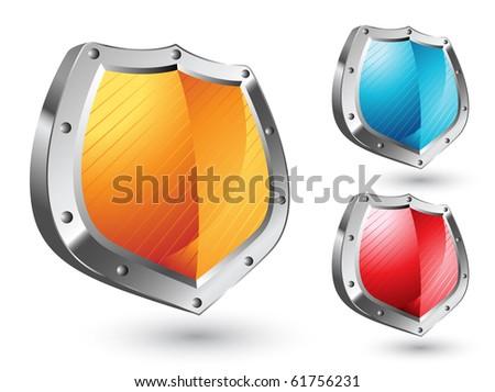 Shields Icon Set - stock vector