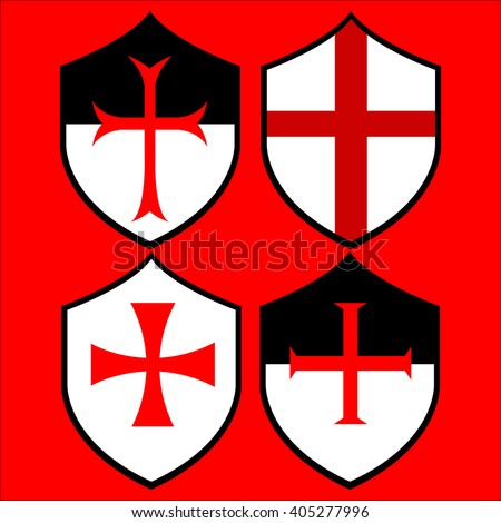 Shields of the Templar Knights. Crosses of the Templars. Vector illustration. Isolated on red. - stock vector