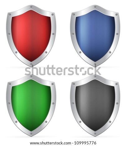 Shields set on a white background. Vector illustration. - stock vector