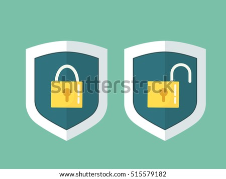 Shields with a closed and open lock. Icons for data protection.
