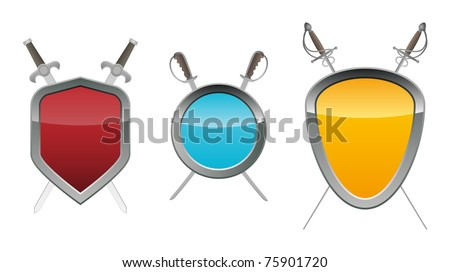 Shields with swords. Vector illustration