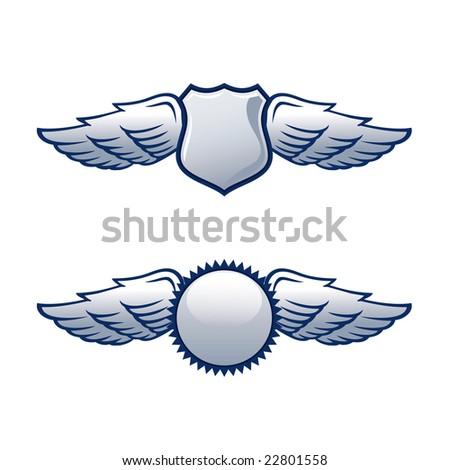 Shields with wings in two different shapes - stock vector