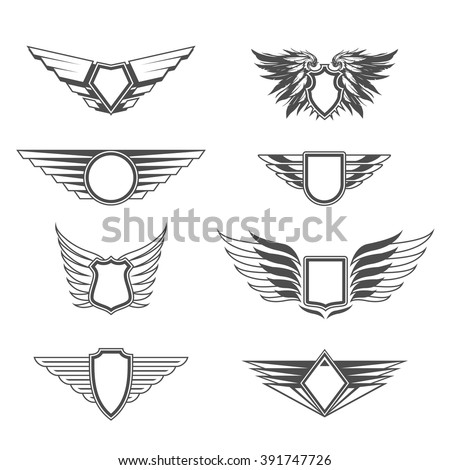Shields with wings templates - stock vector