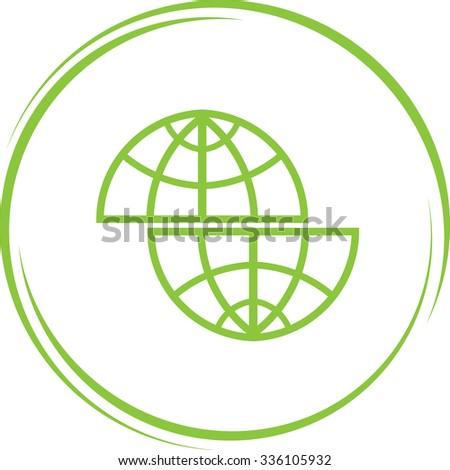 shift globe. Internet button. Vector icon. - stock vector