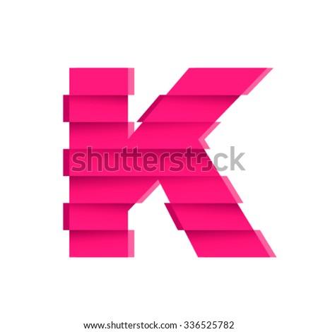 Shifted font, letter K - stock vector
