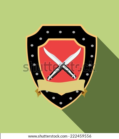 Shild with Sword. Security. - stock vector