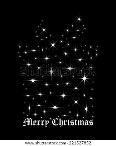 Shimmering bright stars in a shape of Christmas gift box - stock vector
