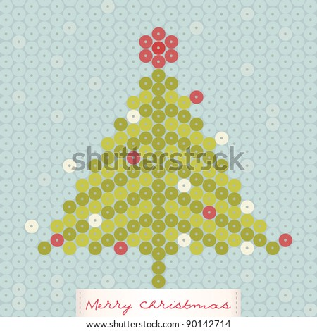 Shimmering christmas tree - stock vector