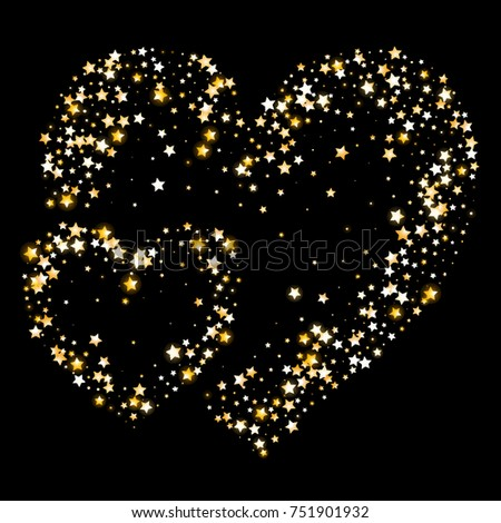 Shimmering Stars Confetti Hearts on Night Sky. Greeting Card, Wedding, Invitation Template Background. Luxury, Glamour Design Pattern. Glittering Sparkles and Golden Stars.