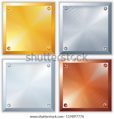 Shine Metallic Signs. Clean Golden, Silver, Platinum and Copper Plates - stock vector