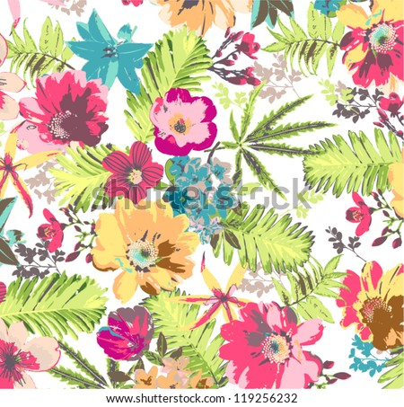 shine tropical flower pattern background - stock vector