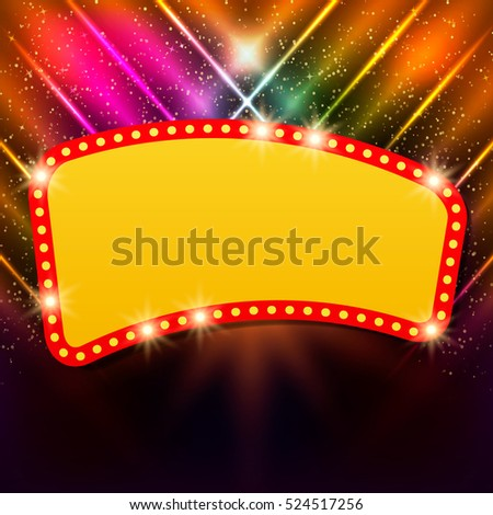 Shining background with retro casino light banner. Vector illustration