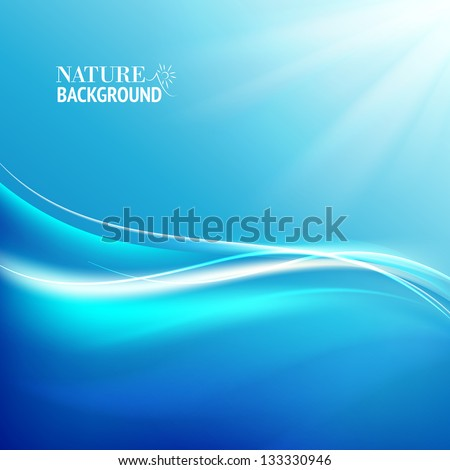 Shining blue flow. Vector illustration, contains transparencies, gradients and effects. - stock vector