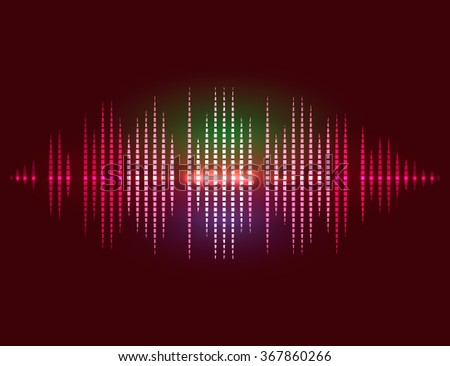 Shining bright digital equalizer background with flares. vector illustration - stock vector