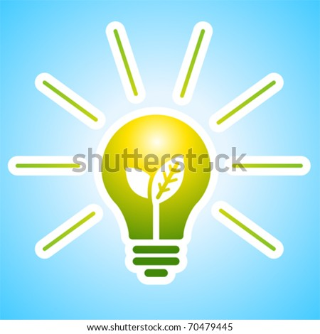 Shining bulb light with young shoots inside. - stock vector