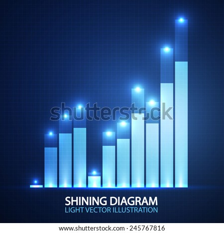 Shining business success graph. Vector illustration - stock vector