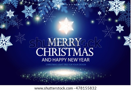 Shining Christmas Background Lights Happy New Year Banner Elegant Snow Template