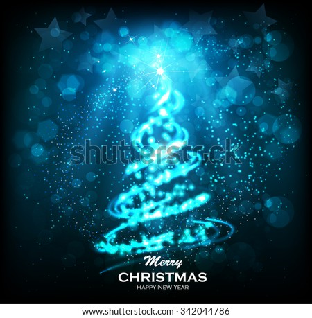Shining Christmas tree. Glittering stars on bokeh background. ?elebratory salute - festive fireworks. Elegant Christmas background. Abstract Winter background. Christmas abstract bokeh - stock vector