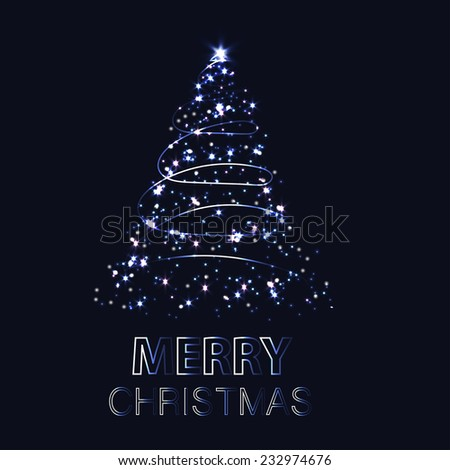 Shining Christmas tree. Vector illustration with background  - stock vector