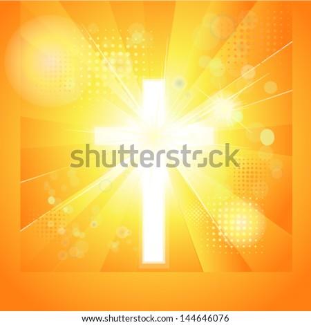 shining cross - stock vector