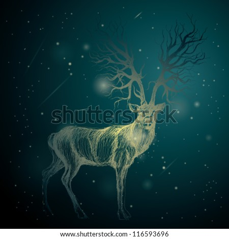 Shining Deer on the night sky / Surreal blue background - stock vector