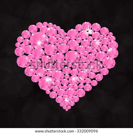 Shining diamond luxury pink heart, jewel and crystal, fashion and glamor, vector illustration
