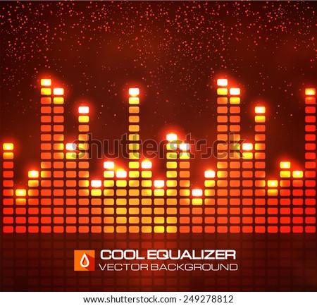 Shining digital equalizer. Vector illustration - stock vector