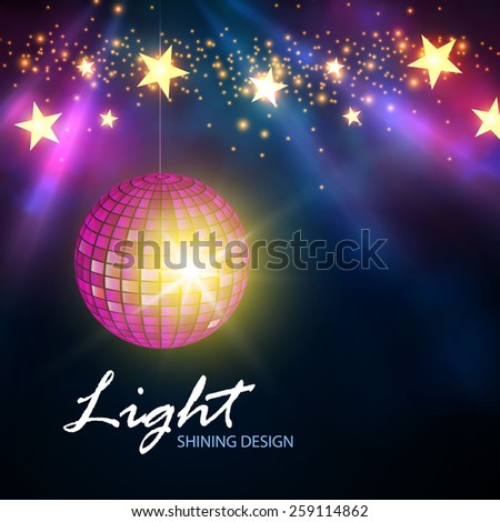 Shining disco ball & spotlights. Vector illustration - stock vector