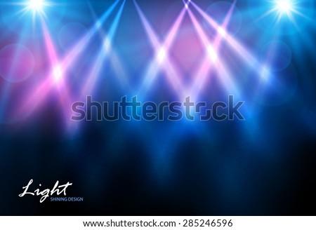 Shining disco spotlights. Vector illustration - stock vector