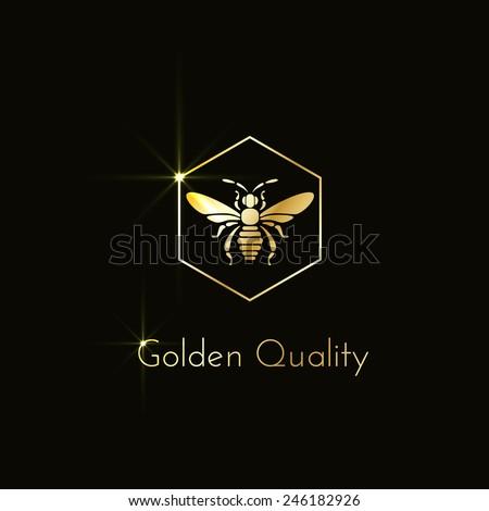 Shining logo with a bee in a hexagon. Vector illustration. - stock vector