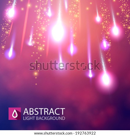 Shining meteorites on colorful background. Vector illustration - stock vector