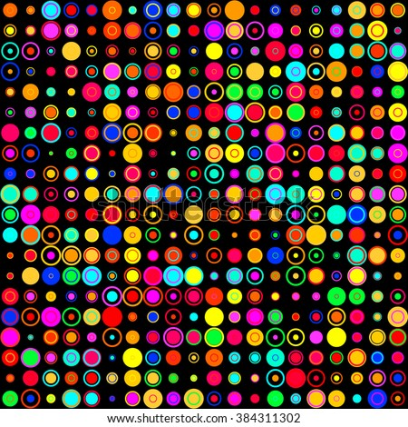 Shining neon rainbow color bright bubbles on black background (seamless background) - stock vector