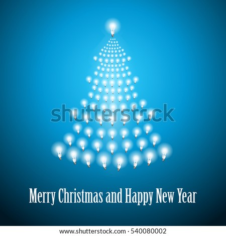 Shining New Year tree made of bulbs on blue luminous background.Luminous bulbs in shape of xmas firtree.Happy NewYear wish and Merry Christmas wish postcard,saving energy concept.