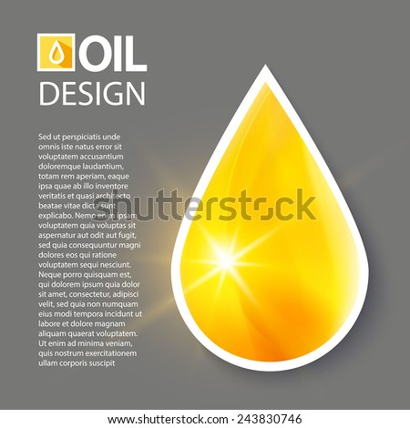 Shining oil drop. Vector illustration - stock vector