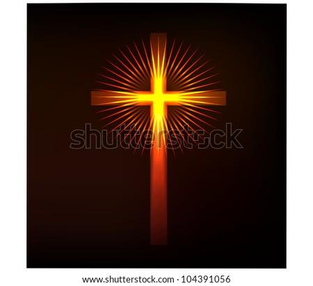 Shining religious cross.Vector - stock vector